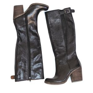 Lucky Brand Black Leather Orman Knee High Boot